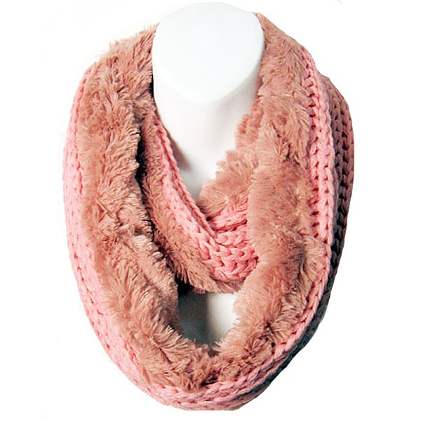 Soft Pink Faux Fur And Knit Double Loop Infinity Scarf