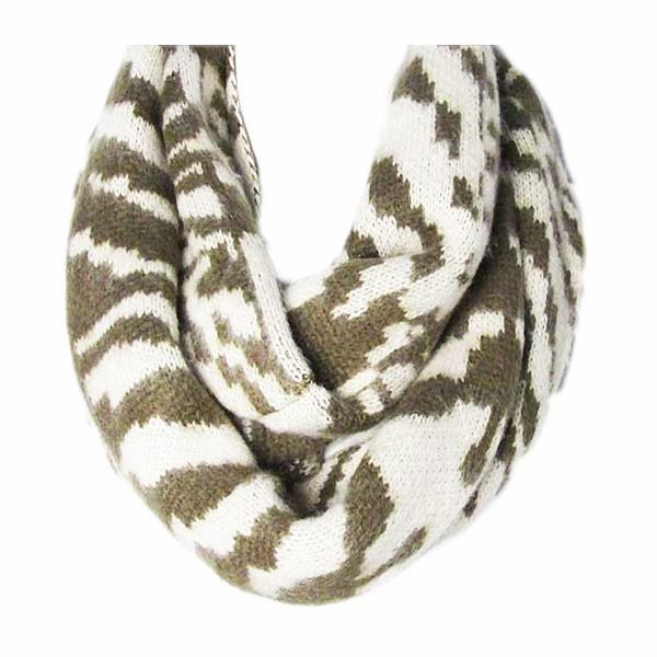 Two Tone Beige / Khaki Green Stripes Loop Infinity