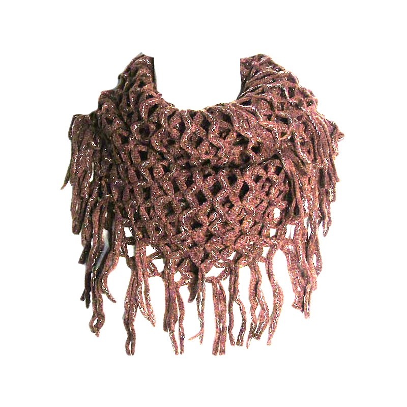 Brown Fishnet Infinity Double Loop Collar Scarf