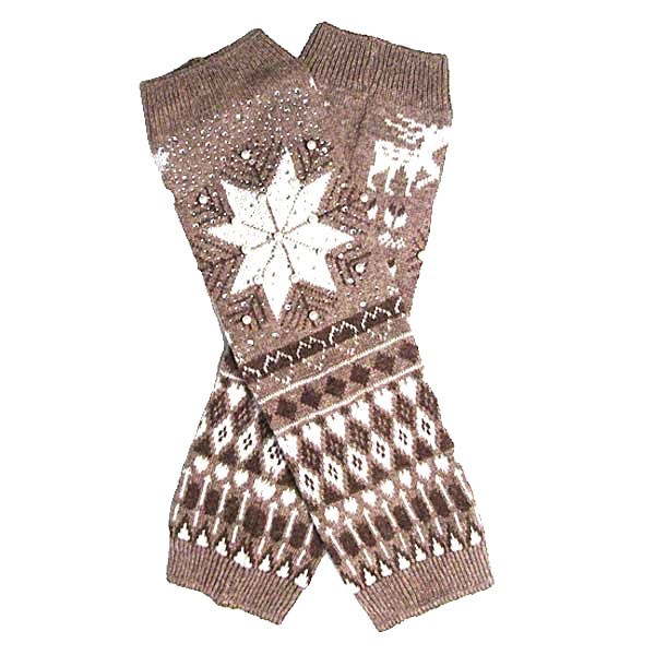 Taupe Snowflake Pattern Pearl Beads Leg Warmers