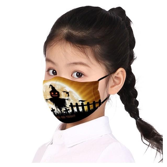 Halloween Scare-Jack-O-Lantern & Bat Cauldron Cotton Kids Fashion Mask