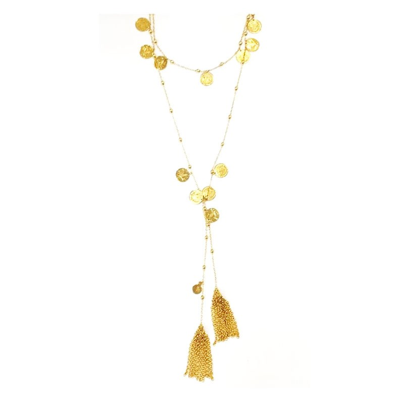 Gorgeous 22k Gold Coin Lariat Tassel Chain Link Necklace