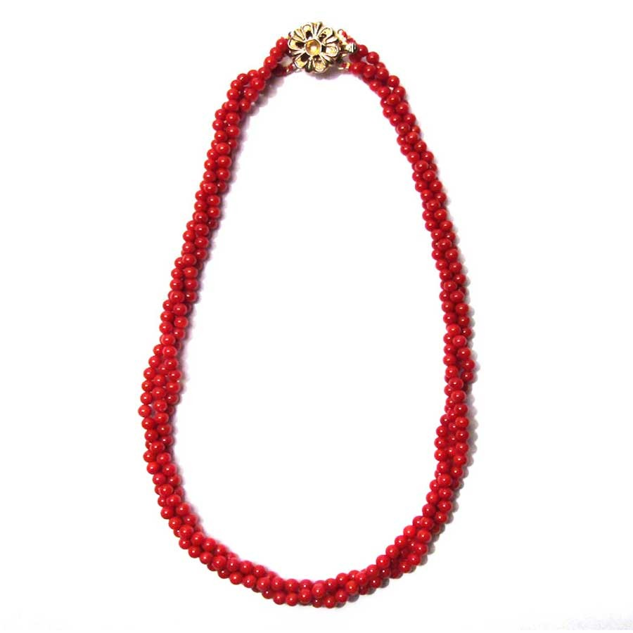 VIBRANT TRI STRAND FLAME RED GENUINE CORAL BEAD NECKLACE