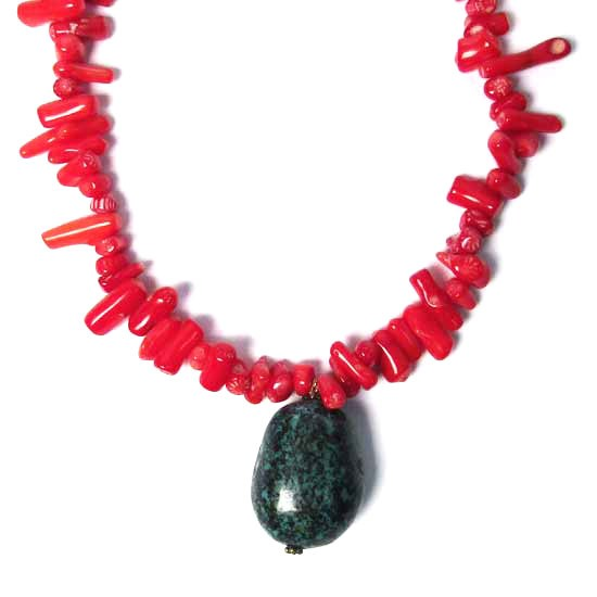 Genuine Flame Red Coral Turquoise Nugget Drop Pendant Necklace
