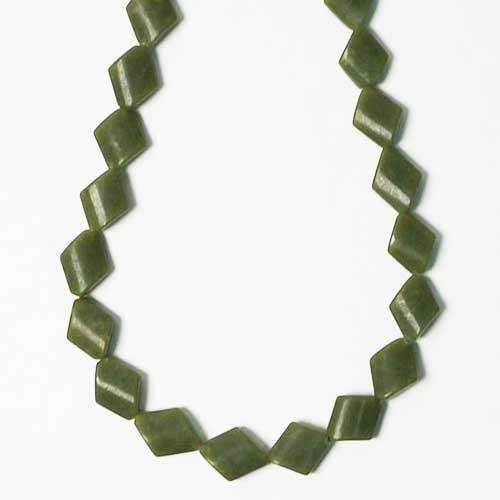 Genuine Olive Green Jade Diamond Shape Necklace