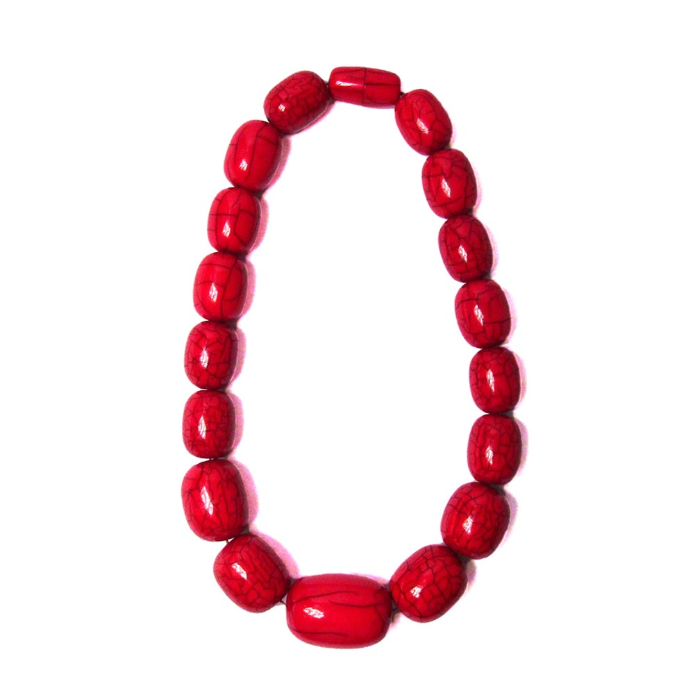 Handcrafted Red Jumbo Oval Statement Necklace