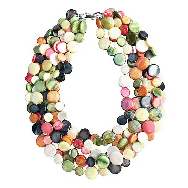 Multi Color 5 Strands Of Mother Of Pearl Coin Disc Necklace