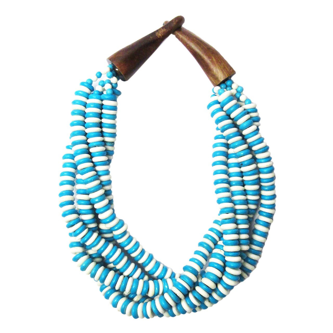 Handcrafted Multi-Strand White Turquoise Genuine Bone Bead Horn Necklace