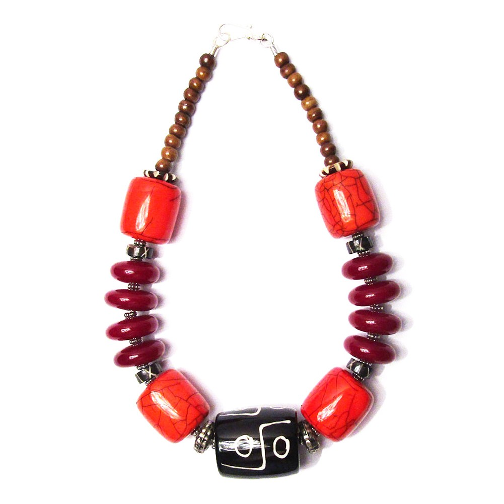 Handcrafted Burgundy Black Drum Tribal Statement Necklace