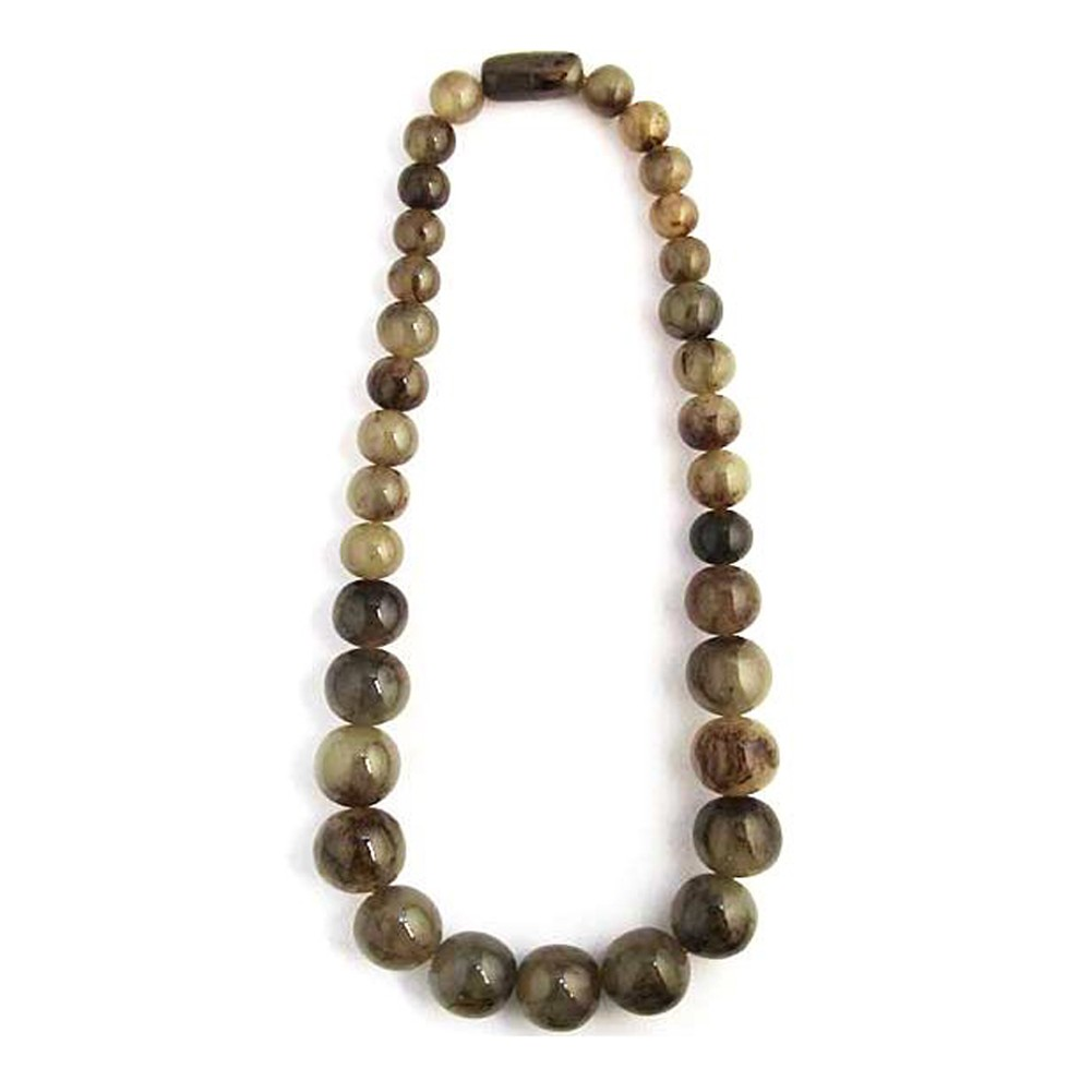 Handcrafted Long Taupe Marble Round Statement Necklace