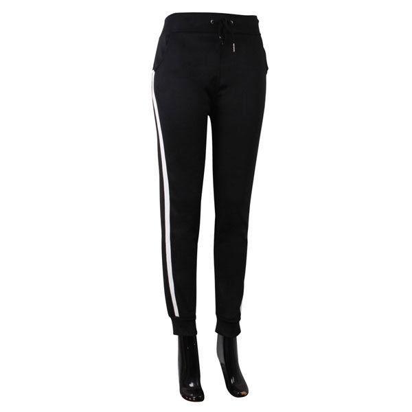 Versatile Black Stripe Athleisure Unlined Leggings Pants
