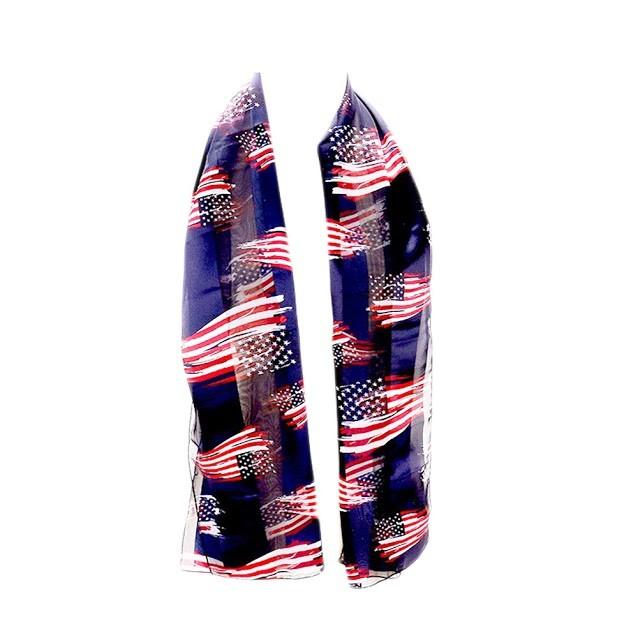Patriotic American Flag Navy Satin Scarf