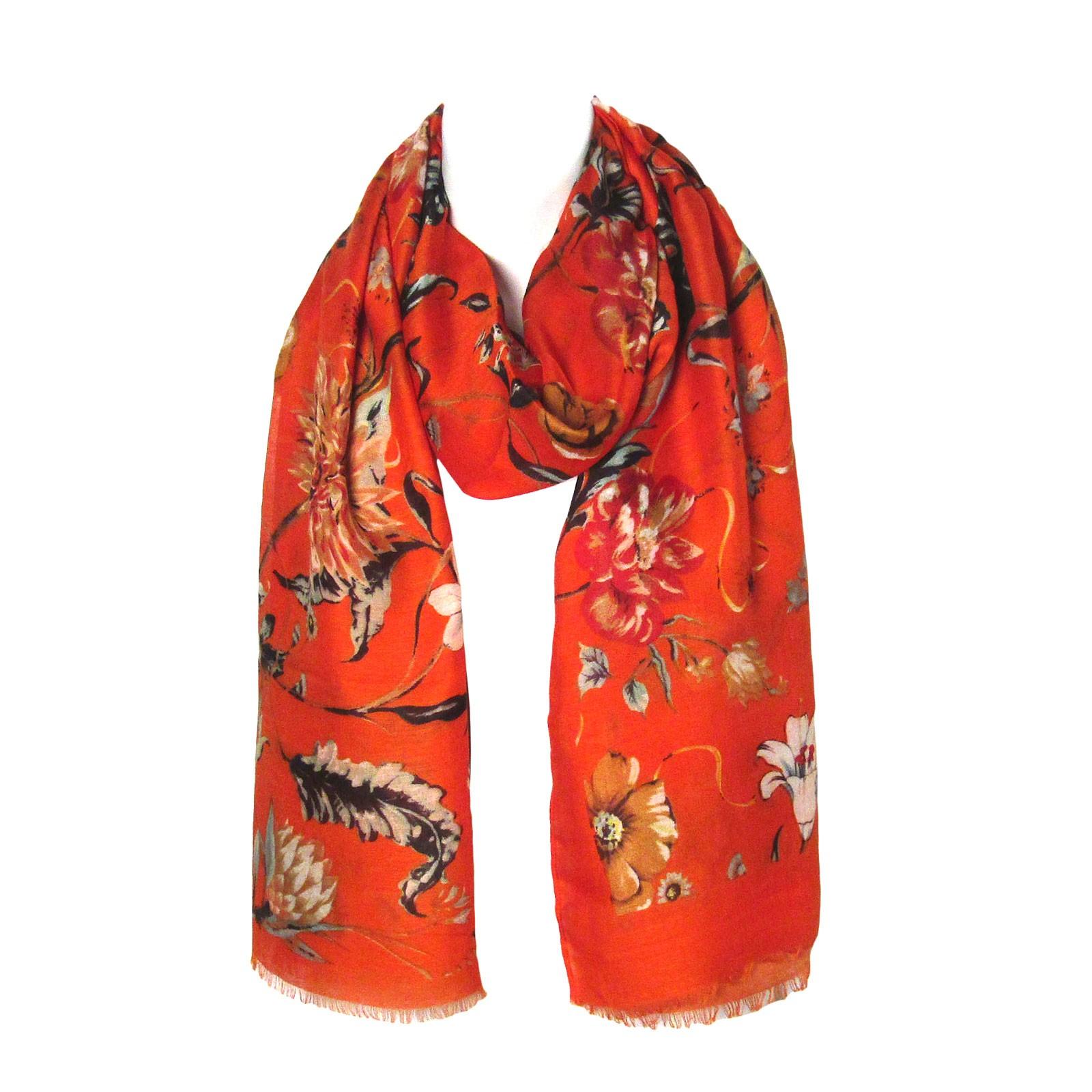 Gorgeous Orange Floral Print Oblong Scarf