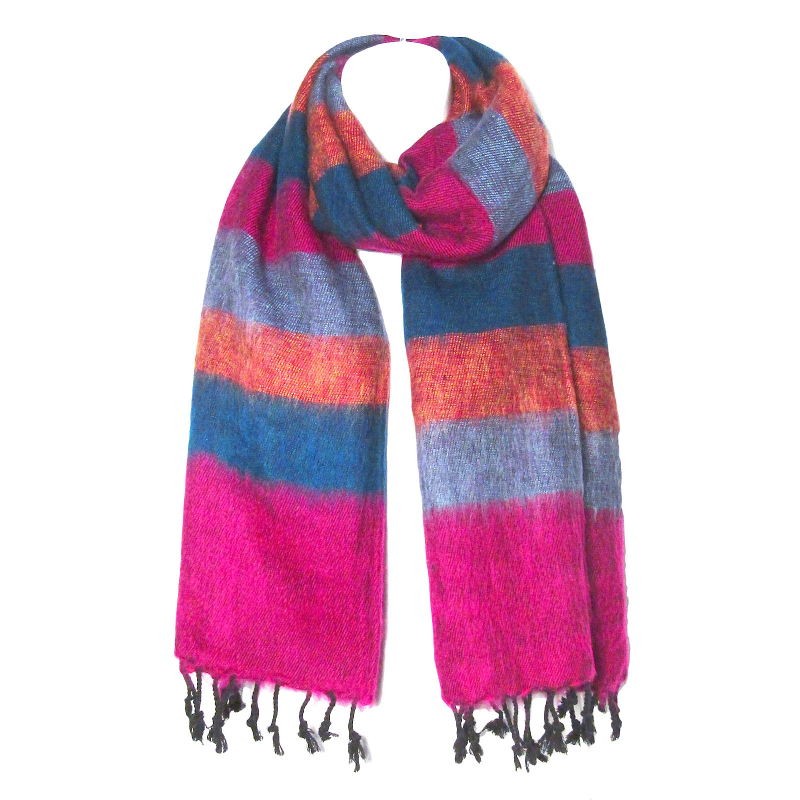 Multi Magenta Blue Color Band Handloom Nepal Wool Scarf Shawl