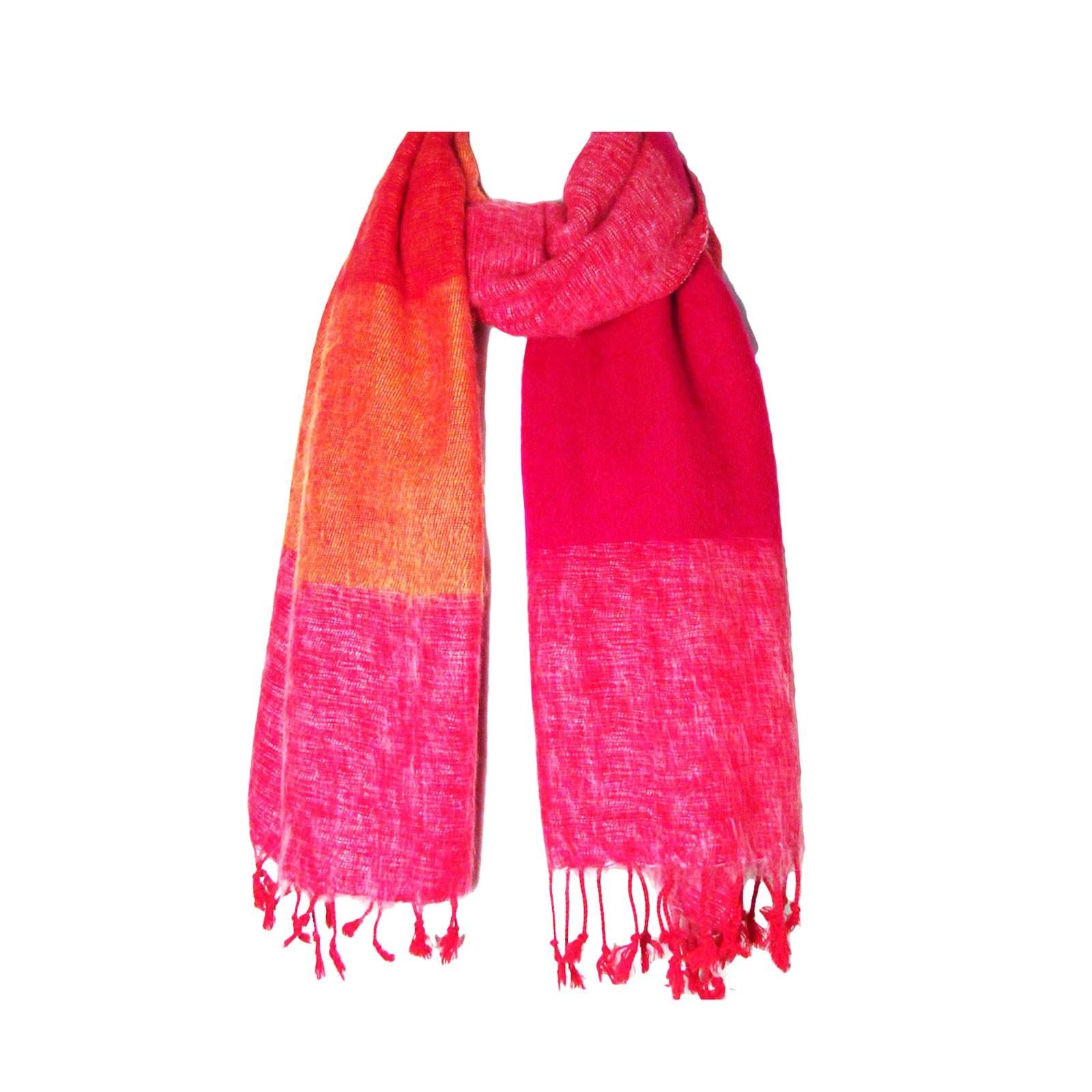 Multi Orange Color Band Handloom Nepalese Wool Scarf Shawl