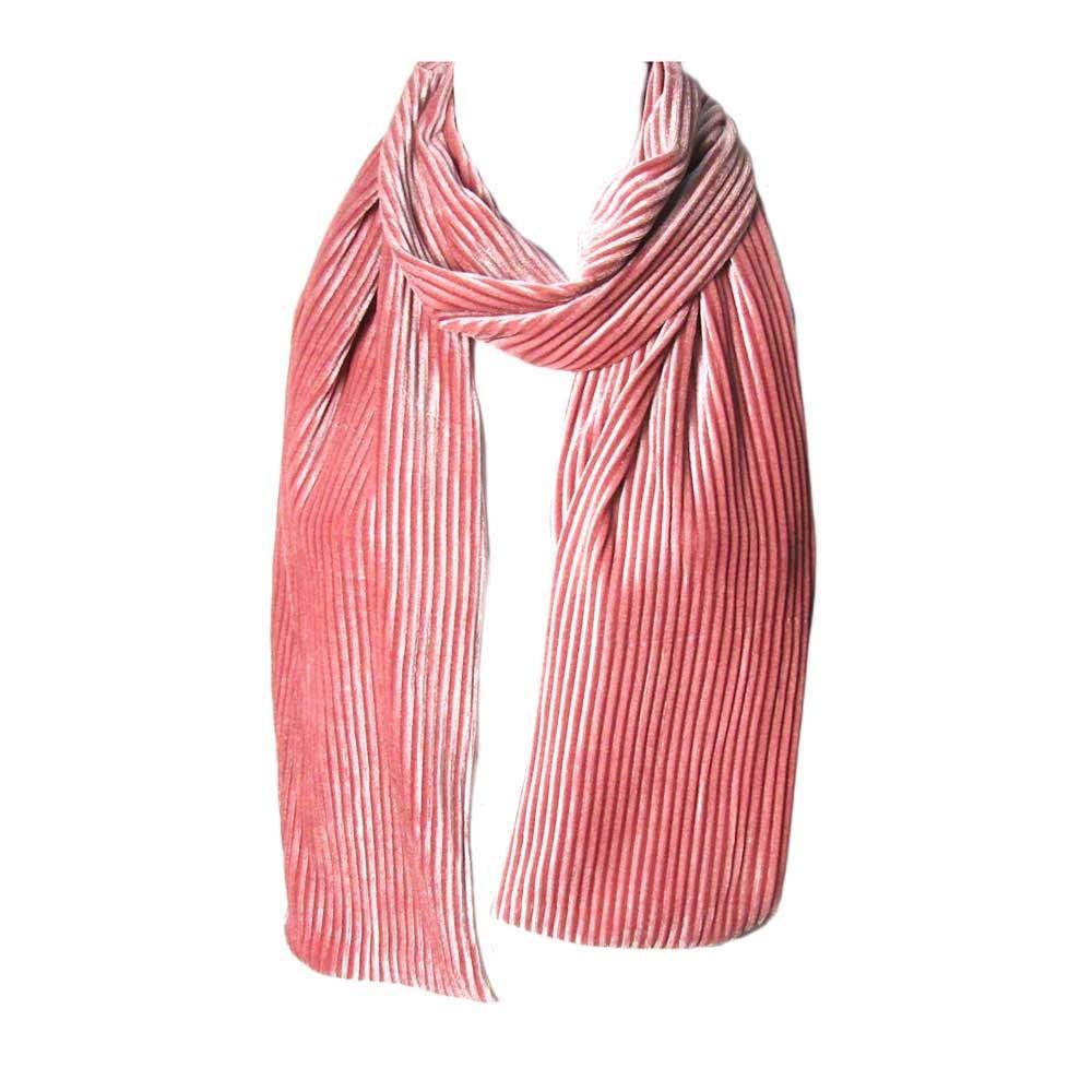 Romantic Blush Pink Pleated Velvet Scarf