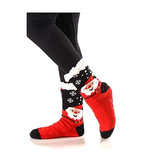 Snowflake Santa Sherpa Lined Slipper Socks