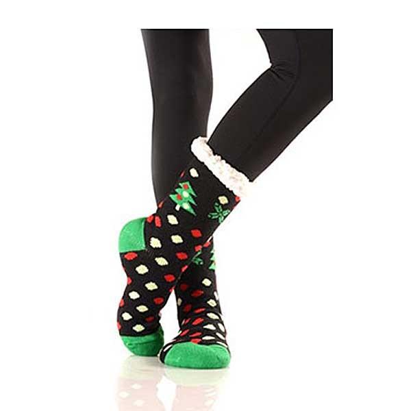Christmas Tree Sherpa Fleece Lined Slipper Socks