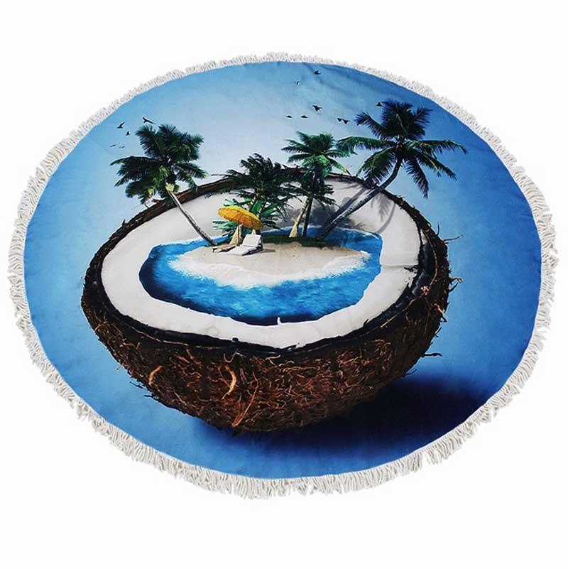 Ocean Blue Coconut Fringe Tassels Roundie Beach Towel Blanket Yoga Mat