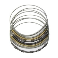 Handcrafted Stack of Multi Color Piano Wire Bracelet