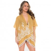 Yellow Embroidery Floral Tassel Cover Up Cardigan Vest