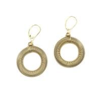 Handcrafted Jumbo Gold Hoop Piano Wire Dangle Drop Earrings
