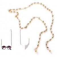 Versatile Gold Beads Link Mask Holder Necklace