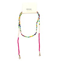 Gorgeous Multi Color Beaded Link Mask Holder Necklace