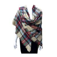 Camel Tartan Blanket Scarf Shawl Wrap
