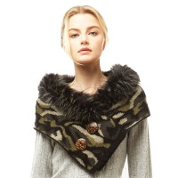 Gorgeous Luxe Camouflage Collar Double Button Tube Scarf