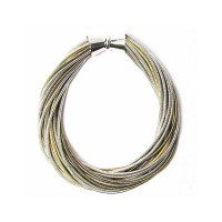 Handcrafted Tri-Color Multi Strand Twist Piano Wire Bracelet