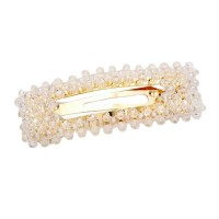 DAZZLING CLEAR CRYSTAL GOLD BEAD HAIR BARRETTES