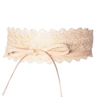 Romantic Pink Lacy Retro Wide Wrap Belt