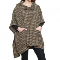 SOFT BROWN HOUNDSTOOTH HOODED CAPE PONCHO
