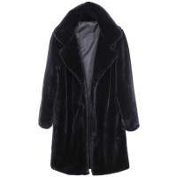 Luxurious Black Soft Faux Fur Long Coat