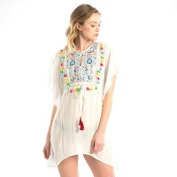 Embroidery White Multi-Color Tassel Cord Cover Up Top