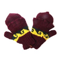 Nepal Hand Knit 100% Wool Multi Brown Yellow Fingerless Flip Top Mitten Gloves