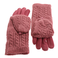 Pink Cable Knit Finger Flip Top Mitten 2 In 1 Gloves