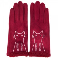 LOVELY BURGUNDY  KITTY SUEDE GLOVES