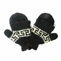 Nepal Hand Knit 100% Wool Charcoal Gray Fingerless Flip Top Mitten Gloves