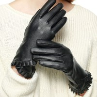 LADYLIKE BLACK RUFFLE LEATHER GLOVES