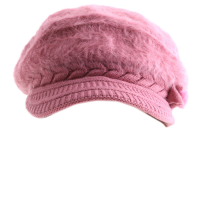 Romantic Pink Furry Floral Knit Hat
