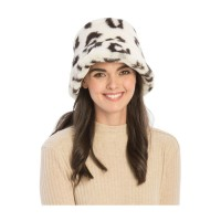 Snow Leopard Faux Fur Bucket Hat
