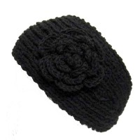 Stylish Knit Black with Flower Headband for Winter