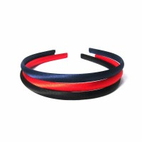 3 In 1 Navy Red Black Satin Fabric Headband