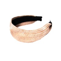 Romantic Pink Raffia Straw Headband