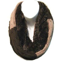 Soft Brown Faux Fur & Knit Infinity Scarf