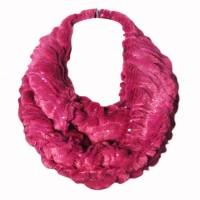Soft Pink Sequin Faux Fur Loop Infinity Scarf