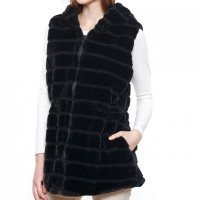 STYLISH BLACK LONG HOODED FAUX FUR VEST
