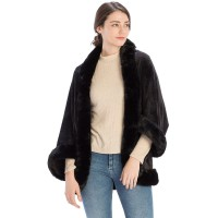 Luxurious Black Faux Fur Ruana Cape Wrap
